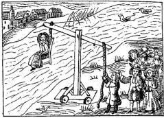 איור עתיק המבהיר את דרך הביצוע הנכון של עינוי בהטבעה. אל תטעו !