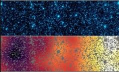 """שתי תמונות אלה מראות את אותה פיסת שמים בקבוצת Boötes, המכונה """"רצועת הצמיחה המהירה. האיזור מכסה מעלה אחת על 0.12 מעלות. צילום: NASA/JPL-Caltech/GSFC"""