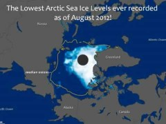 """שיא שלילי בשטח הקרח באוקיאנוס הארקטי בקיץ 2012. איור: נאס""""א"""