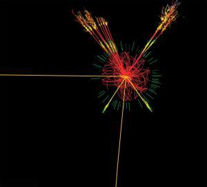 אילוסטרציה המתארת התנגשות חלקיקים במאיץ החלקיקים LHC ב-CERN