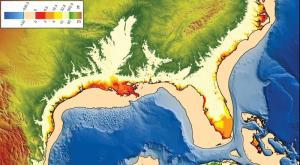 שינויי גובה פני הים בעבר ואולי גם בעתיד. מפה שהכין עמנואל סודינג, אוניברסיטת כריסטיאן אלברכט, באמצעות נתונים של NOAA