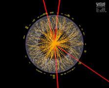 גילוי אפשרי בעזרת גלאי ה- ATLAS מראה את עקבותיהם של ארבעה מיואונים (באדום) שנוצרו בעקבות הדעיכה של חלקיק היגס קצר-החיים [http://cds.cern.ch/record/1459496]