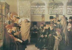 """""""יום הכיפורים"""", ציור שמן על בד מאת איזידור קאופמן (לפני 1907)"""