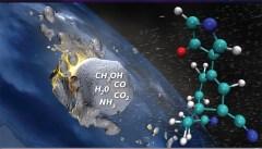 סינתזה של חומרי-מוצא פחמימניים כתוצאה מפגיעות של תערובות קרחוניות פשוטות בכדור הארץ הקדמוני. איור: המעבדות הלאומיות לורנס ליברמור באוניברסיטת ברקלי