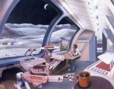 איור אמן של בסיס ירחי. צילום: Spencer/Space Tourism Society.