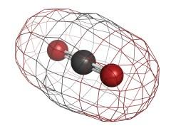 מולקולת דו תחמוצת הפחמן. האטומים השונים צבועים בצבעי הקוד שלהם - פחמן באפור וחמצן באדום. איור: shutterstock