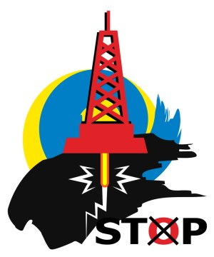 כרזה של מתנגדי הפקת נפט וגז בשיטת הפראקינג. איור: shutterstock