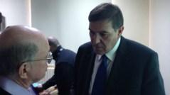 """""""המדענים סחבו את הממשלות שלהם"""", פרופ' אליעזר רבינוביץ' (משמאל) עם ד""""ר חאלד טוקאן. צילום: איתי נבו"""