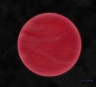 """הדמיית אמן של ULAS J222711-004547. ננס חום זה שהתגלה לאחרונה מאופיין בשכבה עבה של עננים המורכבים מאבק מינרלי. עננים עבים אלה נותנים ל - ULAS J222711-004547 את צבעו האדום החזק, המבדיל אותו מננסים חומים """"נורמליים"""". איור: ניל קוק, המרכז למחקרים אסטרופיסיים, אוניברסיטת הרטפורדשייר."""