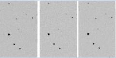 שלוש תמונות מעובדות מהרצף שצולם במצפה וייז המראות את קטע השמיים לפני ההתכסות, במשך ההתכסות, ומיד לאחר ההתכסות.