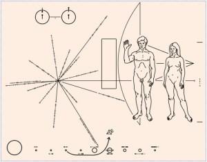 לוחית שהוצמדה לחללית פיוניר 10, כדי שאם חייזרים יפגשו אותה אי פעם הם יידעו מהיכן היא מגיעה. מתוך ויקיפדיה