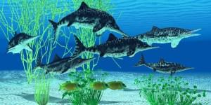 איכטיוזאורוסים מתקופת היורה. איור: shutterstock