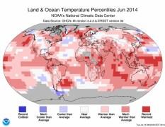 מידות החום ביוני 2014 בהשוואה לממוצע בחודש המקביל במהלך המאה ה-20. איור: NOAA