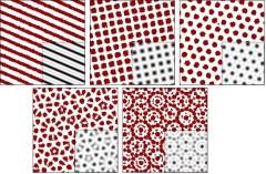 מצב איור: המולקולות, המופיעות כנקודות אדומות, מתגבשות למבנה התואם לחלוטין את המודל המתמטי, המתואר בשחור-לבן, ויוצרות (משמאל לימין, המשך בשורה השניה) גבישים עם סימטריה לסיבוב ב 180, 90, 60, 36, ו-30 מעלות.