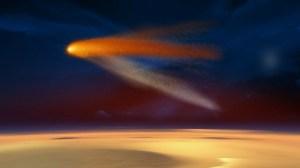 """איור של מעבר השביט Siding Spring סמוך למאדים. מקור: נאס""""א"""
