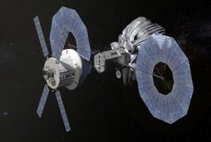 """גישה נוספת ללכידת אסטרואיד בעזרת חללית מסוג אוריון. איור: נאס""""א/JPL"""