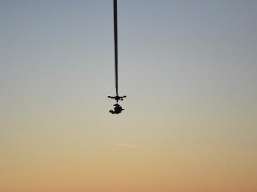 יוסטס כפי שצולם בדקות הראשונות של ההמראה. הוא שמר על תנוחה זו במשך כל השעתיים שארכה הטיסה למעלה. צילום: חברת פארגון לפיתוח החלל.