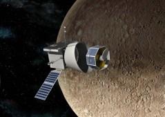 איור אמן של החללית בפי-קולומבו מקיפה את כוכב חמה. איור: חברת אסטריום