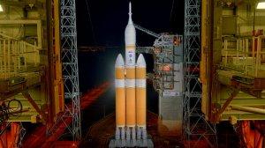 """בינתיים תטוס בלי אסטרונאוים. אוריון על כן השיגור. צילום: נאס""""א"""