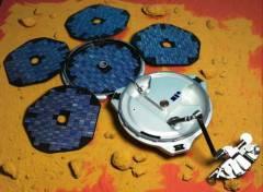החללית ביגל 2 כפי שהיתה אמורה להיראות אילו היתה נוחתת בשלום על מאדים. איור: סוכנות החלל האירופית