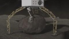 """תיאור לכידת הסלע על פני השטח של אסטרואיד גדול על ידי חללית רובוטית במבצע ARM. איור: נאס""""א"""