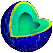 הדמיה של מבנהו הפנימי של כדור הארץ במסגרת סימולציה של תנועת הלוחות הטקטוניים. באדיבות יבמ