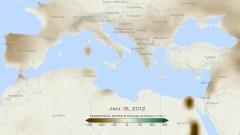 """מאזן המשקעים באיזור הים התיכון נכון לחודש ינואר 2012, גוונים חומים מראים ירידה בכמות המים לעומת ממוצע השנים 2002-2015 באזור הים התיכון בסנטימטרים. הנתונים מלווויין GRACE – משימה משותפת של נאס""""א וסוכנות החלל הגרמנית. צילום: נאס""""א/גודארד"""