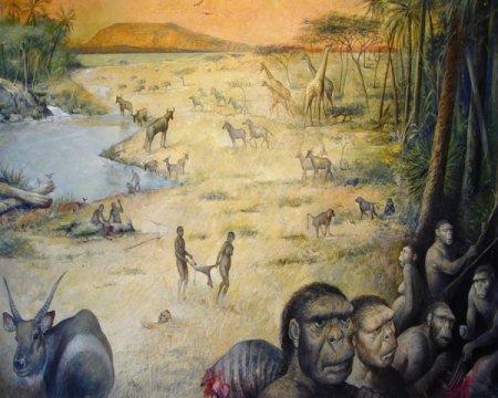 שיחזור סביבת מגורים בן 1.8 מיליון שנה בטנזניה שבה חיו הומינינים בתחרות עם הטורפים על הציד. איור: M.Lopez-Herrera via The Olduvai Paleoanthropology and Paleoecology Project and Enrique Baquedano.