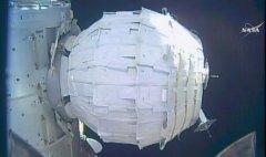 המודול BEAM בתצורתו המנופחת, 28 במאי 2016. מקור: NASA TV