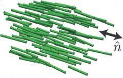 המולקולות המרכיבות גביש נוזלי פונות לאותו הכיוון כאשר הם במצב המתאים [באדיבות: UW-Madison Materials Research Science and Engineering Center]