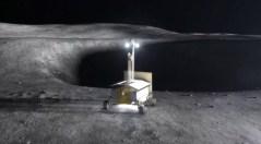 """רכב ירח רובוטי מחפש קרח במכתש. איור: נאס""""א"""