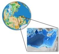 מזרח הים התיכון, מערבית לקפריסין ומזרחית לכרתים (האיור המוצלל במפה), משמר שאריות מאוקיאנוס קדום.