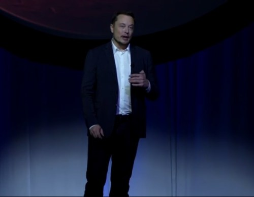 """מנכ""""ל ספייס איקס אילון מאסק מכריז על התוכנית ליישוב מאדים. מתוך יוטויוב"""