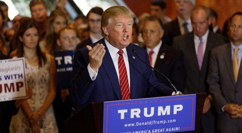 דונאלד טראמפ בעצרת בחירות. מתוך ויקישיתוף