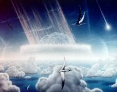 """איור אמן של פגיעת האסטרואיד שהובילה להכחדת קרטיקון-שלישון, בה גם נכחדו הדינוזאורים. מקור: נאס""""א / Donald E. Davis / ויקימדיה."""