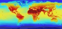 """תחזית נאס""""א לטמפרטורות אזוריות ברחבי כדור הארץ בשנת 2100. מקור: נאס""""א."""