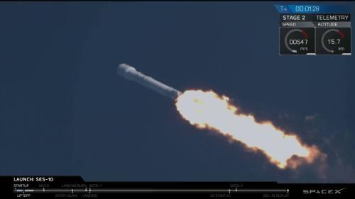 פאלקון 9 עם השלב הראשון המשומש בפעולה, שניות לאחר תחילת השיגור. מקור: ספייס אקס, מתוך השידור החי של החברה ביוטיוב.