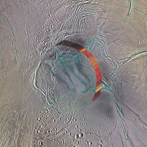 """הקוטב הדרומי של אנסלדוס בצילום של קאסיני. על גבי הצילום הודבקו תוצאות תצפיות המיקרוגל של המכ""""ם של קאסיני, שנעשו על גבי רצועה צרה וארוכה קרוב מאד לרצועות הנמר, שמהם יוצאים סילוני המים (רמועות הנמר הן הרצועות הכחולות במרכז התמונה). מקור: NASA/JPL-Caltech/Space Science Institute; Acknowledgement: A. Lucas."""