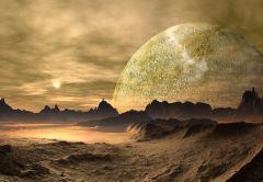 נוף בכוכב לכת מחוץ למערכת השמש. המדע הבדיוני של שנות האלפיים. איור: shutterstock