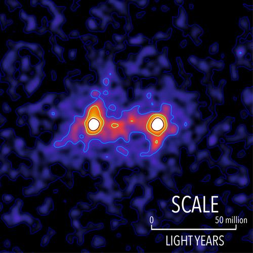 """""""גשרי"""" חומר אפל בין גלקסיות. צילום: אוניברסיטת ווטרלו"""