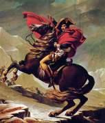 """איך מציירים את נפוליאון? עם כובע נפוליאון! איך התקבּעו הדימויים האלה בראשנו? ציור: """"נפוליאון חוצה את האלפים"""", מאת ז'אק-לואי דויד."""