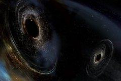 איור הממחיש כיצד נראים שני חורים שחורים מתמזגים הדומים לאלו שזוהו על ידי LIGO. החורים השחורים מסתובבים בצורה לא מיושרת כלומר יש להם אוריינטציות שונות ביחס לתנועה הכללית של מסלול הצמד. LIGO מצא רמזים לכך שמסלולו של לפחות חור שחור אחד במערכת GW170104 לא זוהה קודם לכן באמצעות התנועה המסלולית שלו לפני שהתמזג עם השותף שלו. איור: LIGO / Caltech / MIT / Aurore Simonnet