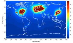 מפה גלובלית של שטף חלקיקי האנטי-ניטרינו מכורים גרעיניים. מקור: LDRD.