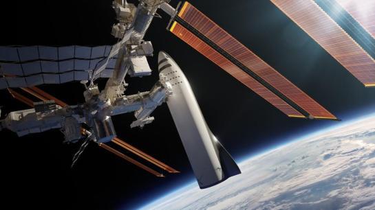 הדמייה של ספינת ה-BFR עוגנת בתחנת החלל הבינלאומית. מקור: SpaceX.