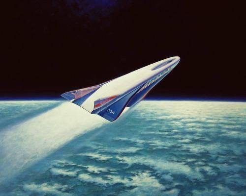 """סין פרסמה פרטים מעטים מאד על מטוס החלל שהיא מפתחת, ואף לא הדמייה אחת או תרשים המסביר את צורתו. באיור הנ""""ל נראה הדמייה של מטוס החלל Rockwell X-30, שביטולו בוטל ב-1993. מקור: James Schultz, NASA."""