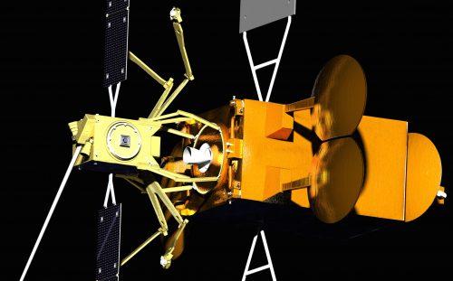 """הדמייה של הלוויין SPACE DRONE שמפותח על ידי Effective Space. תמונת יח""""צ."""