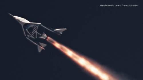 """טיסת הניסוי השביעית של החללית יוניטי של וירג'ין גלקטיק, ב-5 באפריל 2018, הטיסה הראשונה בה נוסו המנועים הרקטיים המתוכננים להעלות את מטוס החלל לתת-מסלול, מאז התרסקות החללית אנטרפרייז ב-2014. צילום יח""""צ, וירג'ין גלקטיק"""
