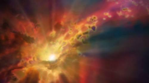 חומר נפלט מגלקסיה ביקום המוקדם. איור: D. BERRY/NSF/AUI/NRAO