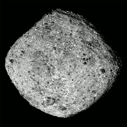 """צילום של האסטרואיד בנו ממצלמות החללית OSIRIS-REx, מגובה של כ-80 ק""""מ. צילום: נאס""""א"""
