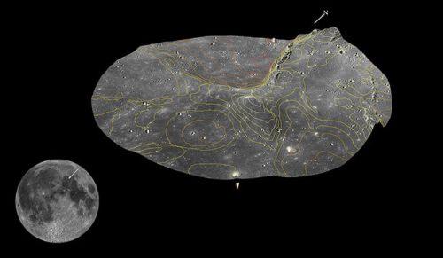 """האיזור בו תנחת החללית בראשית על הירח, בחלק הצפון מזרחי של """"ים הרוגע"""" לא הרחק מאפולו 15 ו-17. באדיבות פרופ' עודד אהרונסון, מכון ויצמן"""